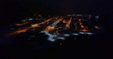 Winter evening views of Seward, Alaska