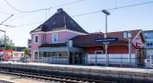 Fotografie Stadt Germering, Landkreis Fürstenfeldbruck, Oberbayern, Deutschland: Bau des Bahnhofs Germering-Unterpfaffenhofen
