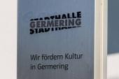 Municipal Germering, District Furstenfeldbruck, Upper Bavaria, Germany: Sign and Logo of Civic City Hall (Stadthalle Germering)