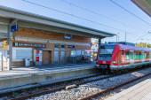 Municipal Germering, District Furstenfeldbruck, Upper Bavaria, Germany: Train Station, S-Bahnhof Harthaus of S-Train Line S8