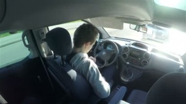 Man Driving car inside view timelapse