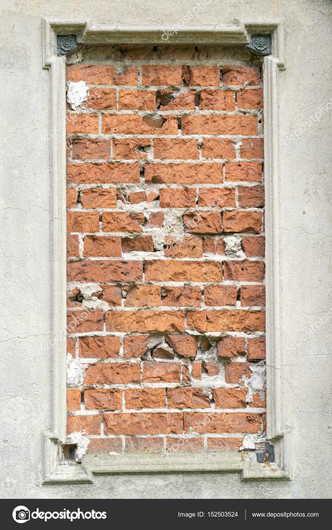Betonrahmen und roten Backsteinmauer für Hintergründe — Stockfoto ...