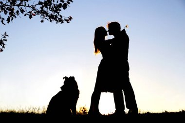 Silhouette of Loving Young Couple Hugging Under Tree at Sunset
