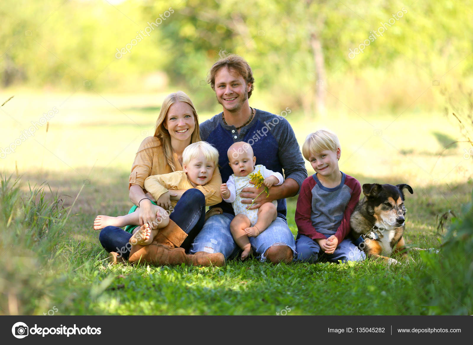 Happy Family Of 5 People And Dog In Sunny Garden Mdash Stock