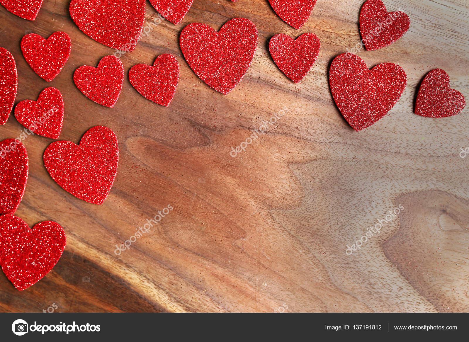 Red Sparkle Valentine Hearts Rahmen Kirsche Holz Hintergrund ...