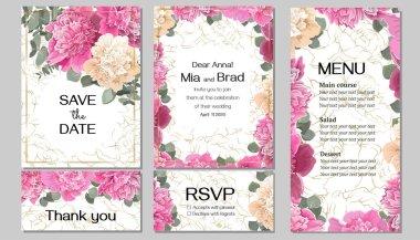 """Картина, постер, плакат, фотообои """"векторный шаблон для свадебного приглашения. пион цветы, фон с золотом, зеленые листья и растения. пригласительный билет, спасибо, rsvp, меню ."""", артикул 352734112"""
