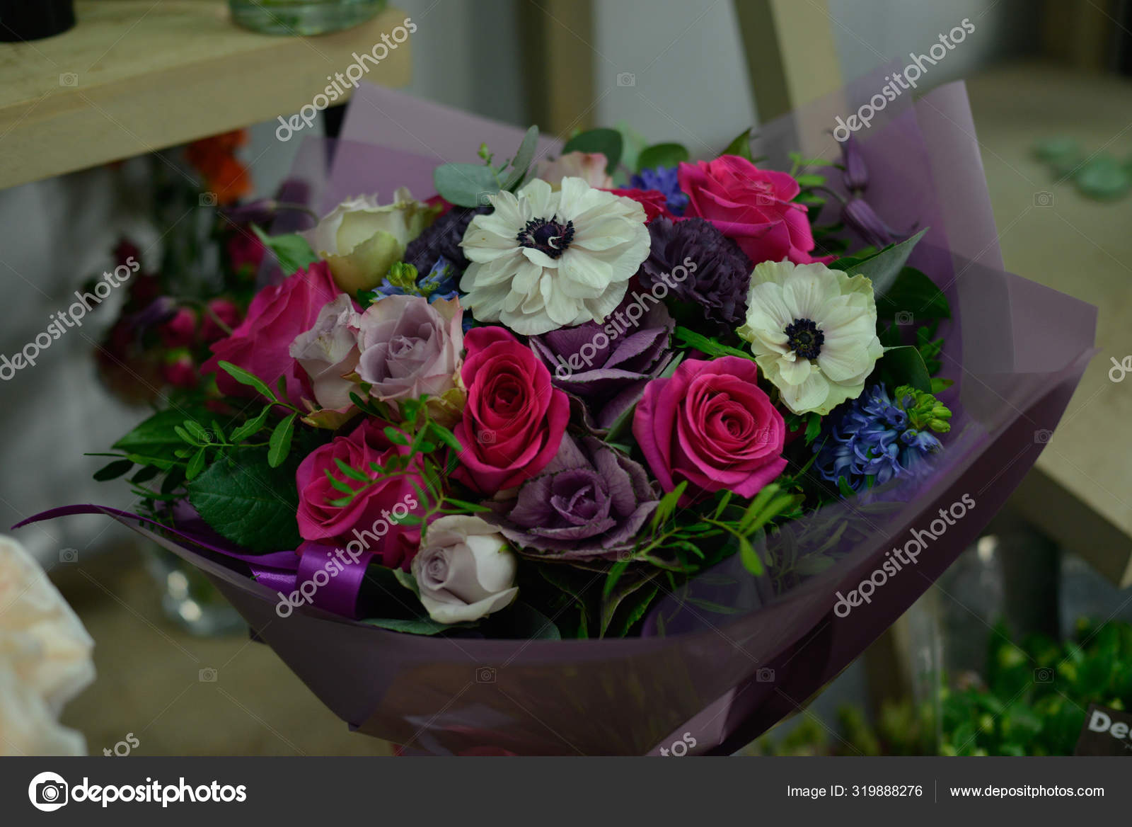Bouquet Natural Fresh Flower Rose Anemone Buttercup Matthiola Tulip Eucalyptus Stock Photo Image By C Plan905 319888276