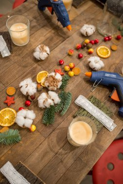 Christmas decorations and decor, lights and candles, handmade festive decoration made of cotton, Christmas trees, dried fruits and flowers and lanterns