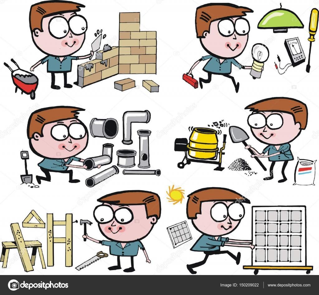 Cartoon Vector Gruppe Von Sechs Handwerker Fleissig Bei Der Arbeit