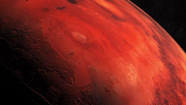 Mars vörös bolygó. A videó a Mars pályájáról. A Mars a negyedik bolygó a Napból és a második legkisebb bolygó a Naprendszerben a Merkúr után.