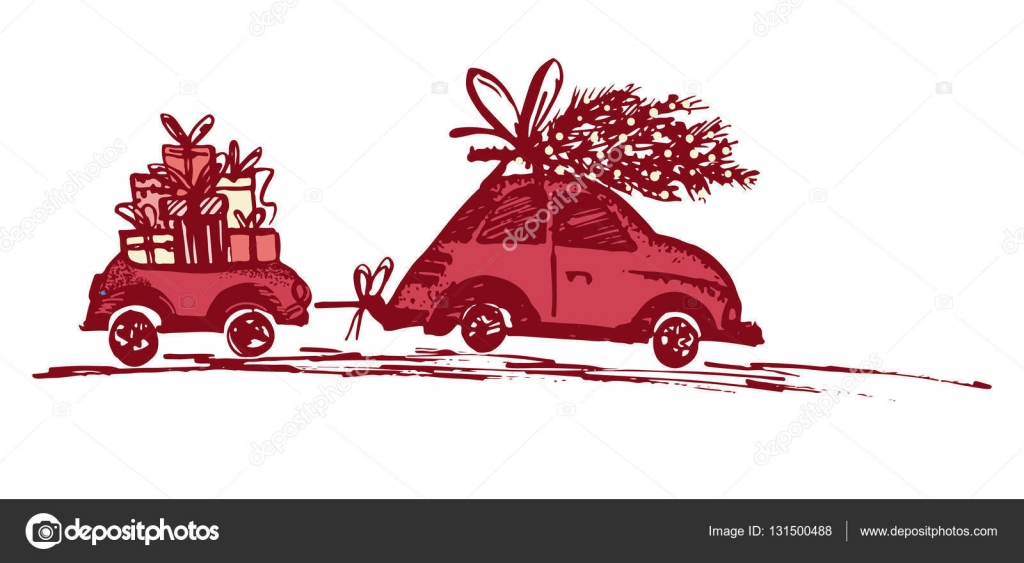 Greeting card with Christmas tree on car roof and car trailer with ...