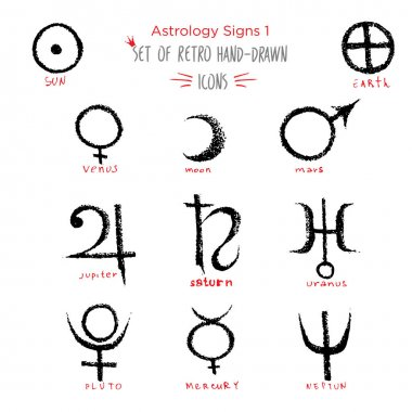 Hand-drawn sketch Planet and astrology sing icon set