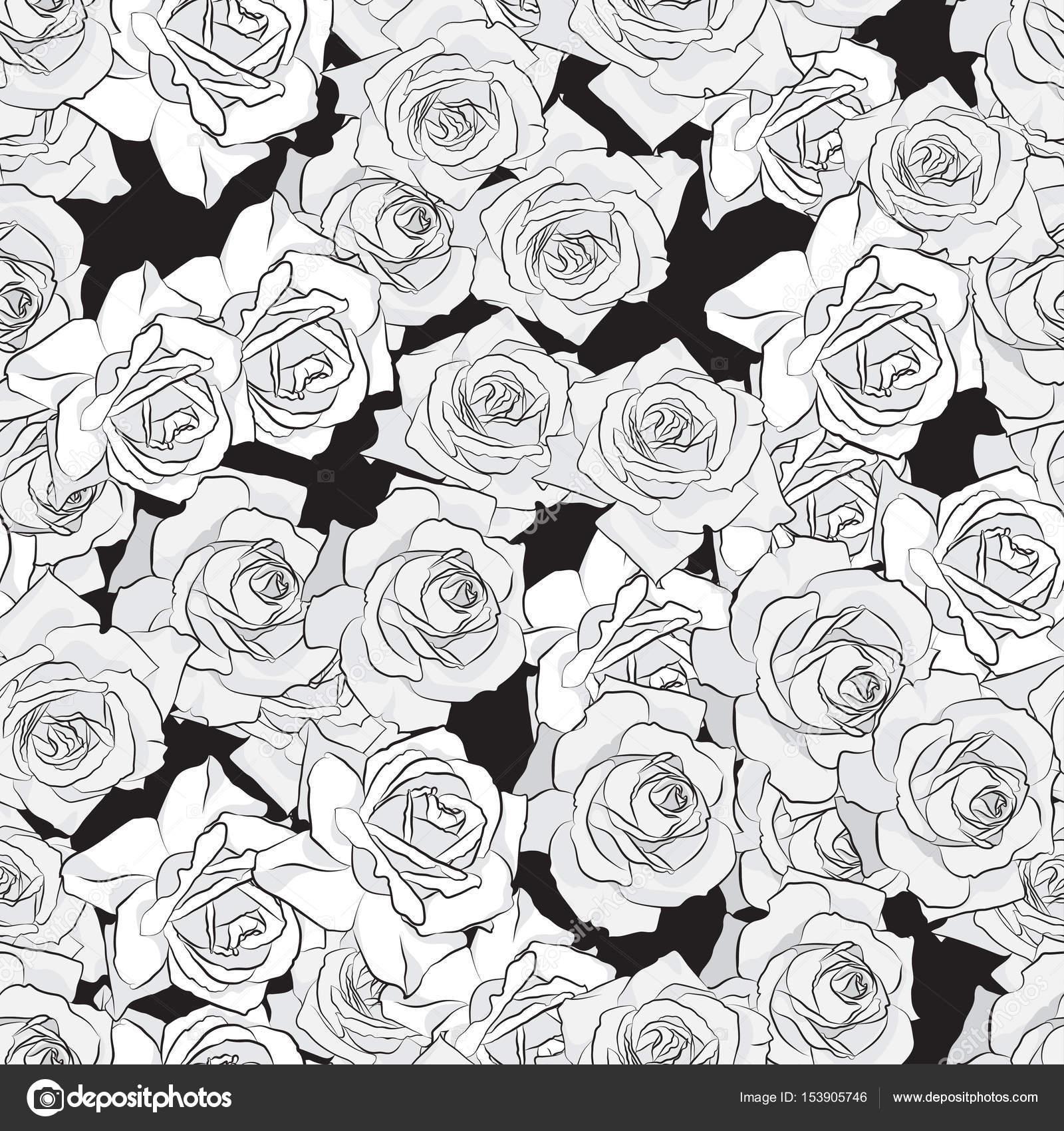 Beautiful black gray and white rose flower seamless pattern beautiful black gray and white rose flower seamless pattern botanical hand drawn silhouette izmirmasajfo