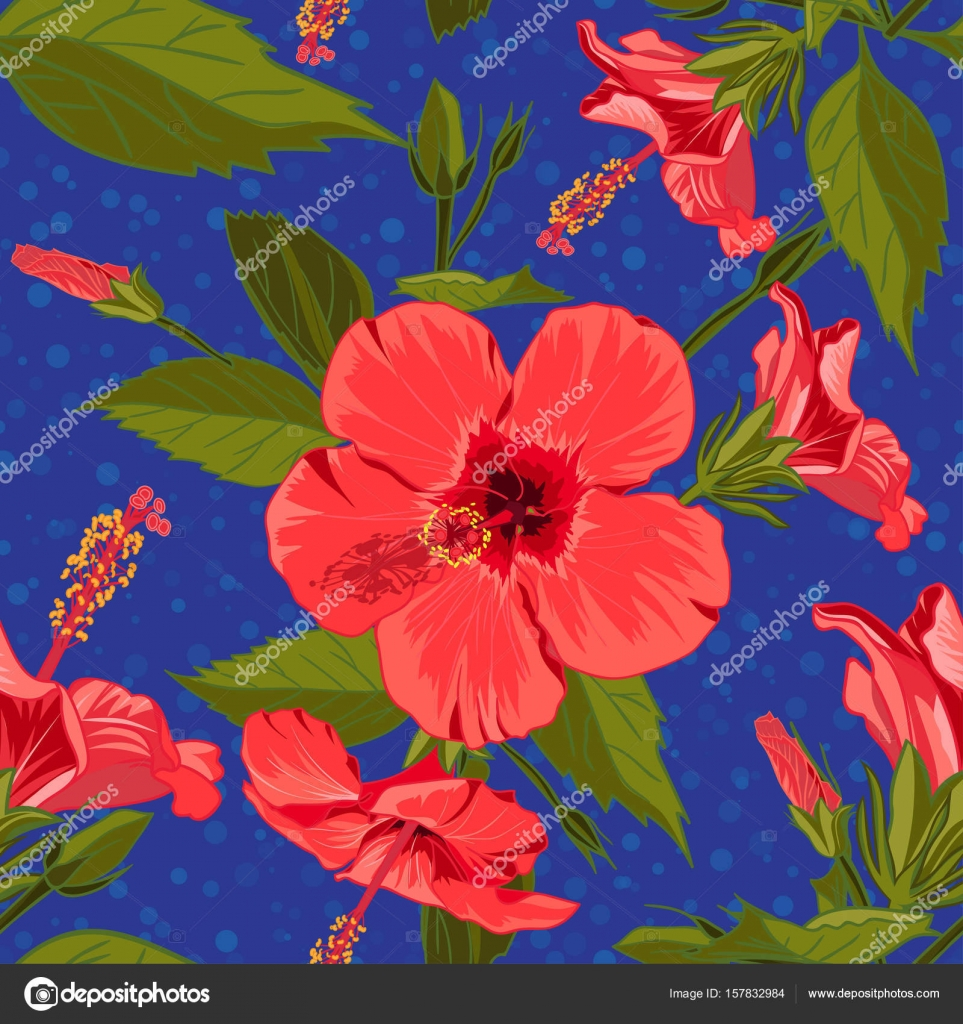 Seamless Hand Drawn Tropical Pattern With Jungle Exotic Hibiscus Flower On Dark Blue Background Fashion Textile Print Summer Floral Wallpaper
