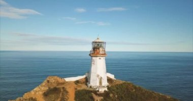 Aerial panoramic view of the lighthouse Brinera, Far East of Russia