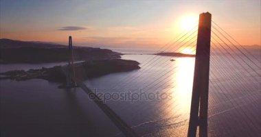 Aerial view of Russian Bridge and Russian Island. Sunrise. Vladivostok, Russia