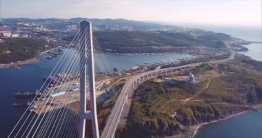 Aerial view of Russian Bridge and Russian Island. Sunrise. Vladivostok, Russia