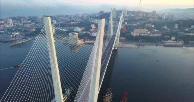 Aerial view of Golden Bridge across Zolotoy Rog bay. Vladivostok. Russia.Sunrise