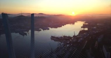 Aerial view of the Golden Bridge across the Golden Horn bay. Vladivostok, Russia
