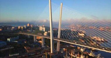 Aerial view the Golden Bridge and veiw of Vladivostok downtown. Russia