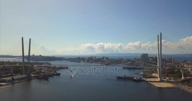 Aerial view of the Golden Bridge and the Zolotoy Rog harbour. Vladivostok,Russia