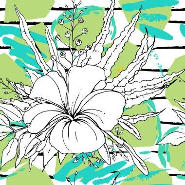 Tropical, stripe, animal motif. Seamless pattern