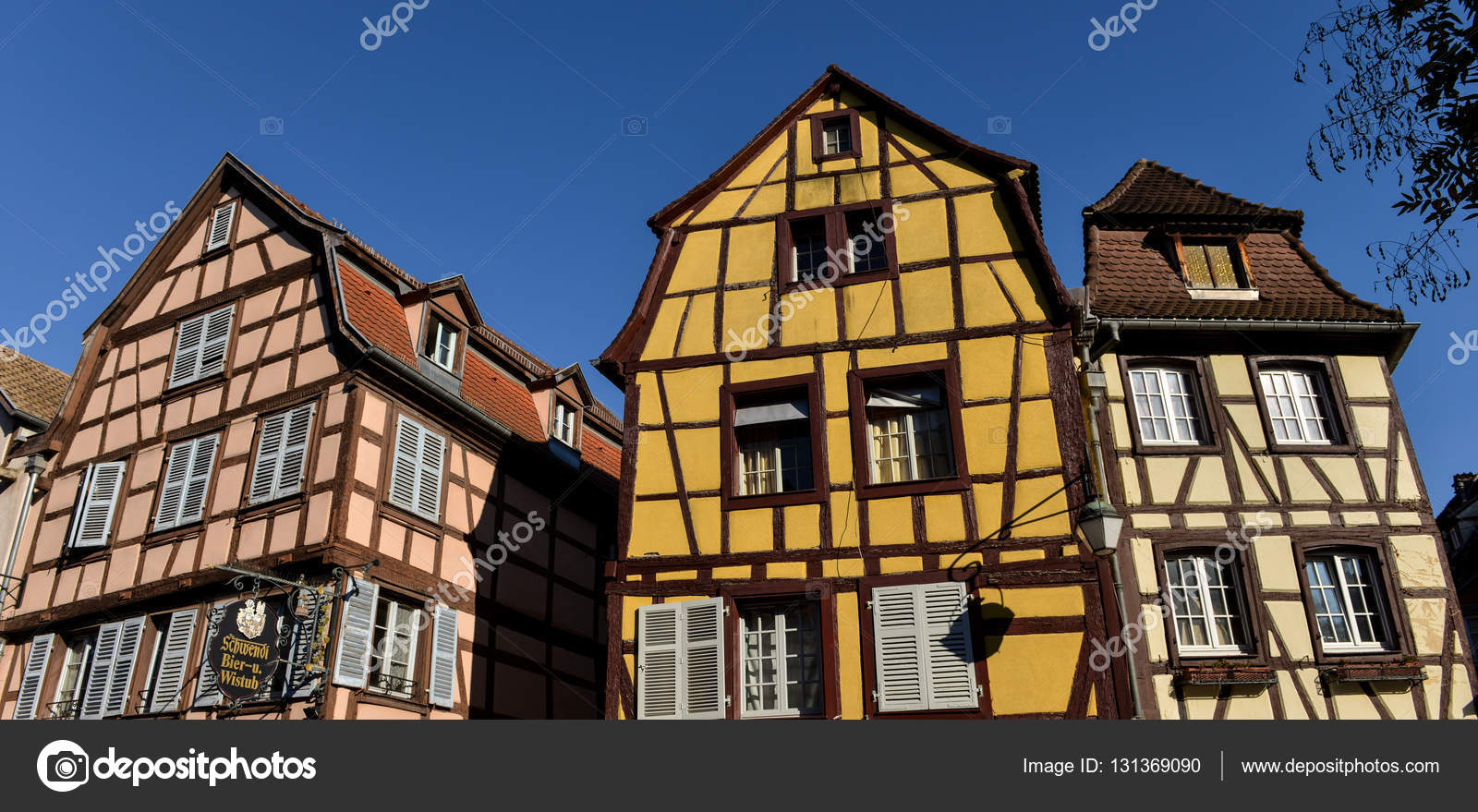 Colorful Traditional French Houses In Petite Venise Colmar Stock Photo