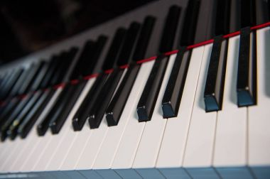 Close up of piano keys black and white