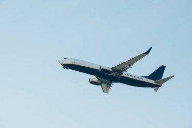 Commercial jet liner taking off in blue sky stock vector