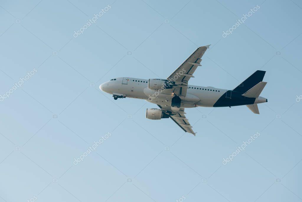 Flight departure of commercial plane in blue sky stock vector