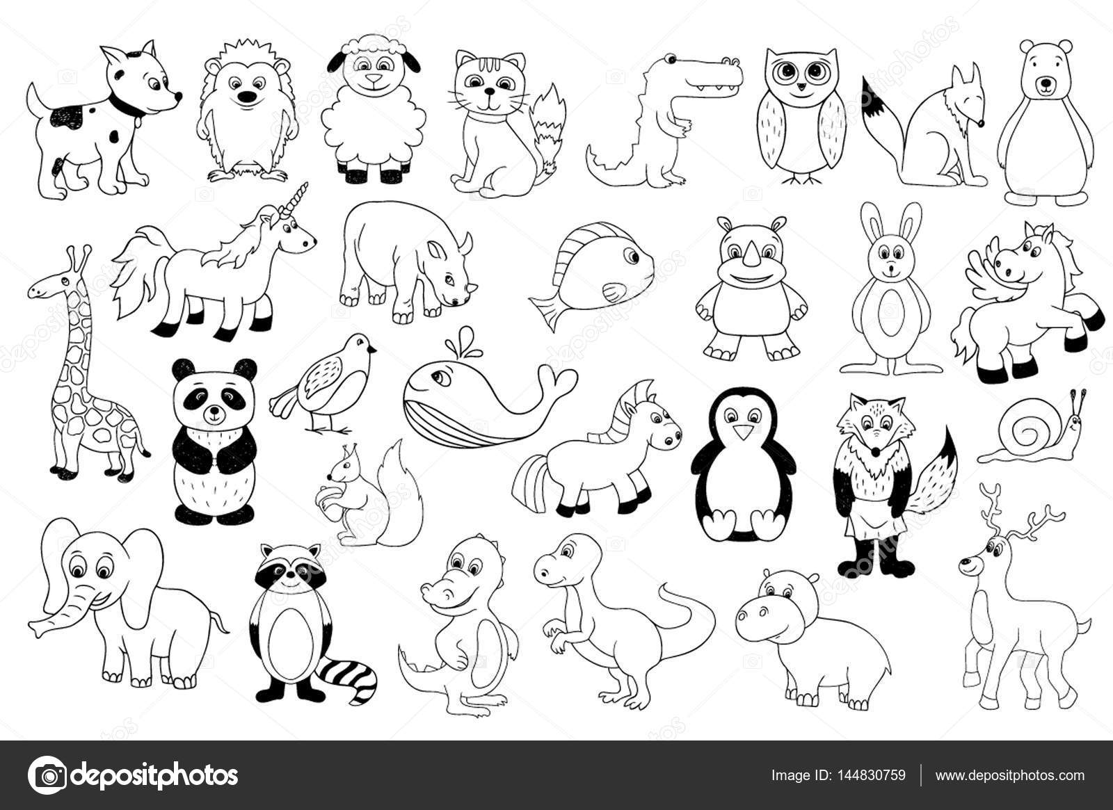Vector set with baby animals . Outline cartoon ...