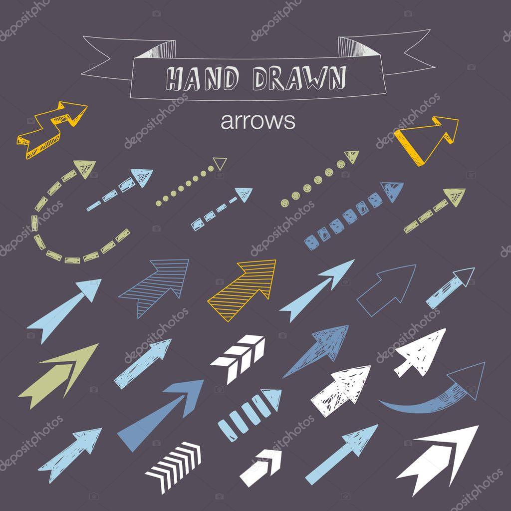 Unique collection of hand drawn arrows.