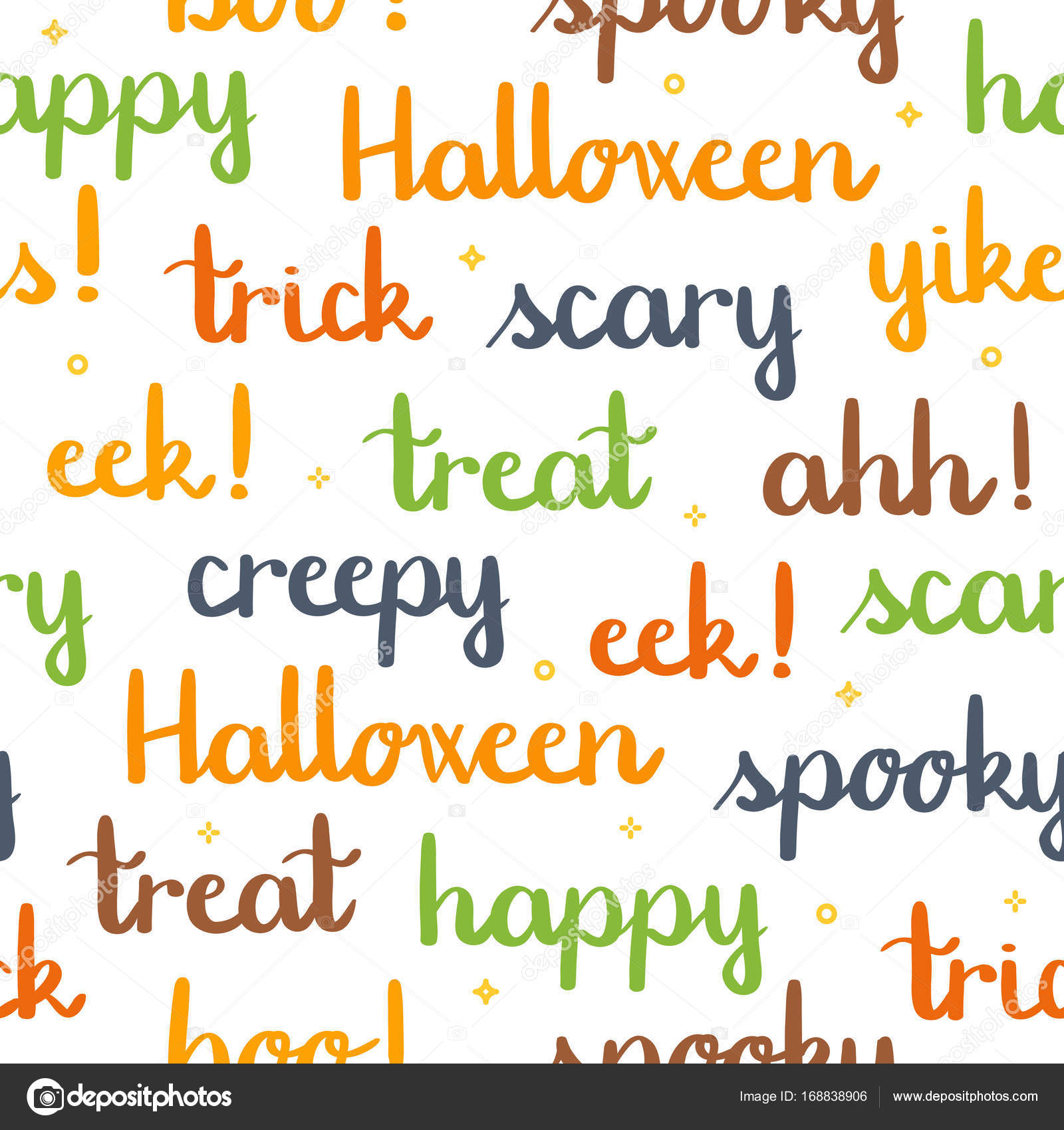 halloween words lettering seamless pattern white background stock vector