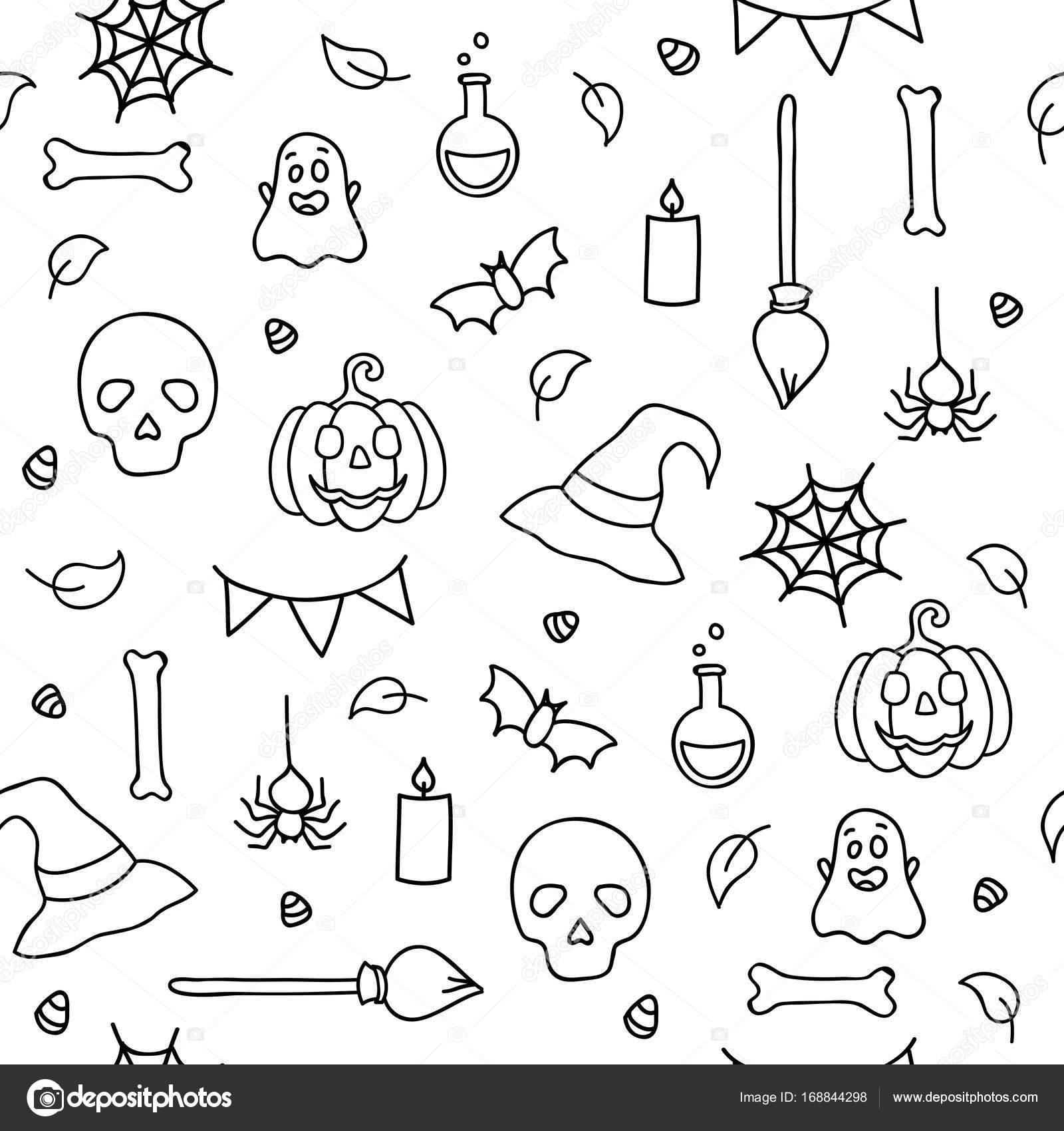 De Naadloze Patroon Halloween Voor Kinderen Kleurplaat Doodle Zwarte