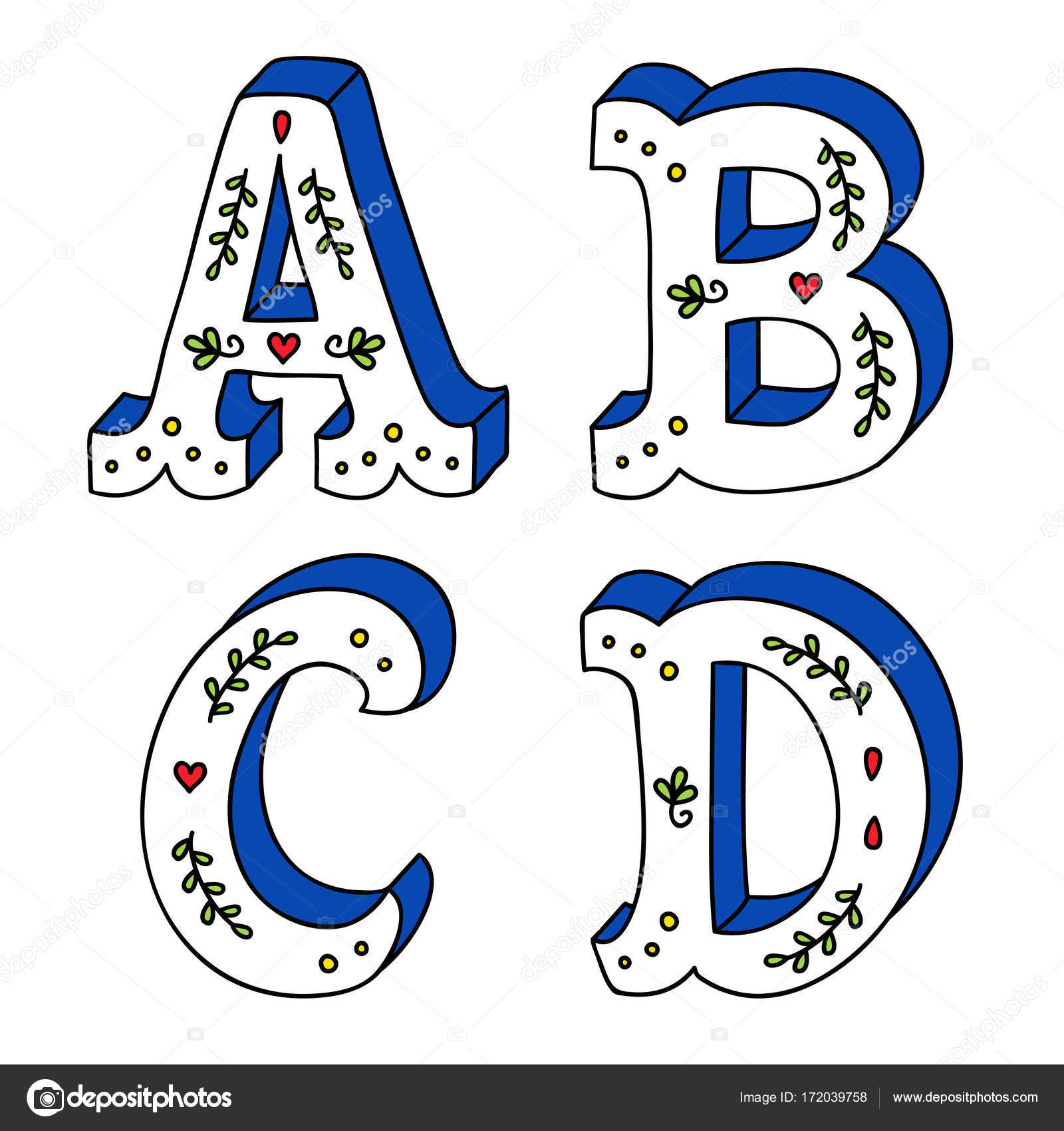 Decorative Lettering Drawing Hand Lettering Drawing Set Of
