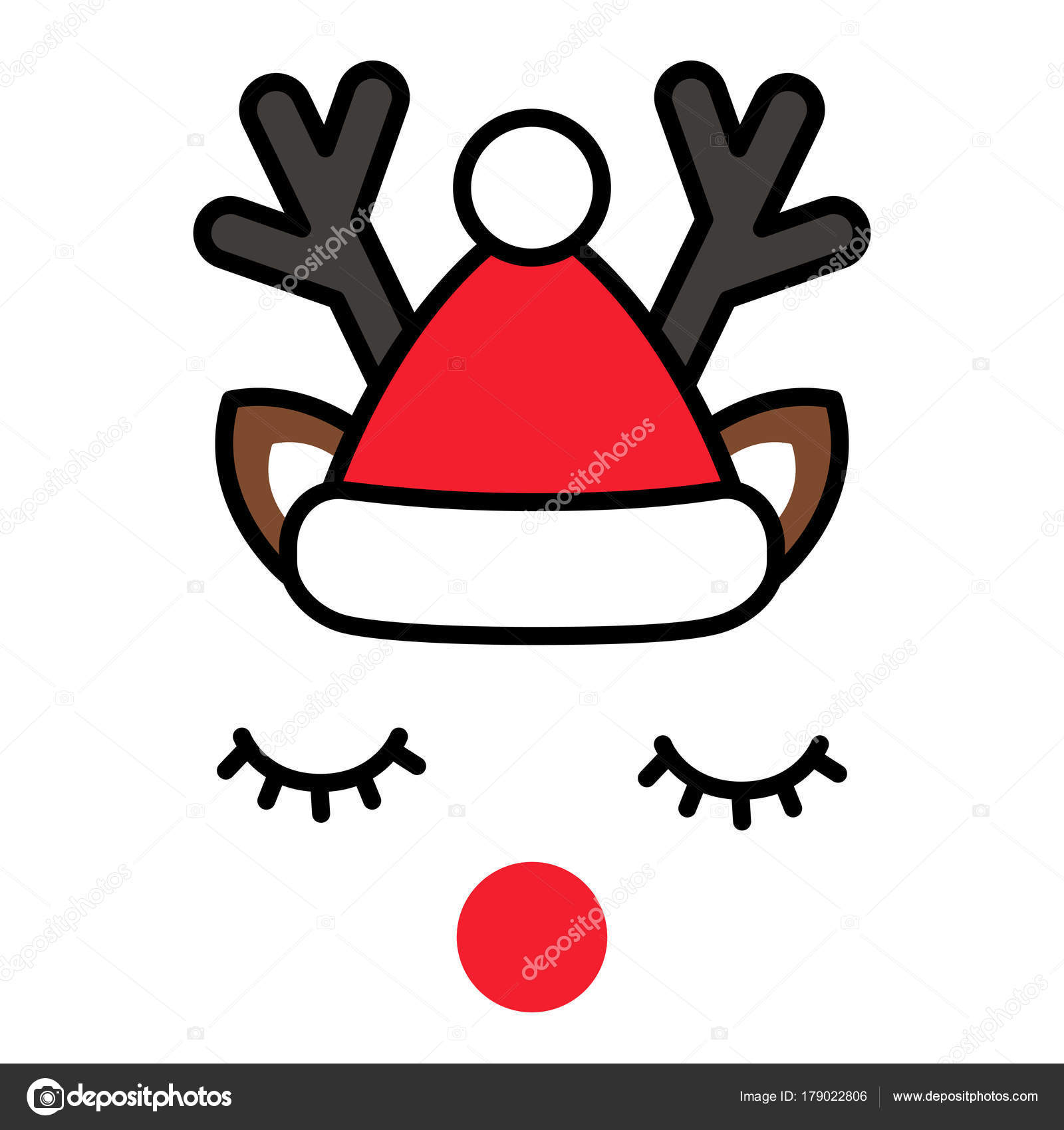 27dc101b4f51d Minimalistic cute christmas reindeer with santa hat — Stock Vector ...