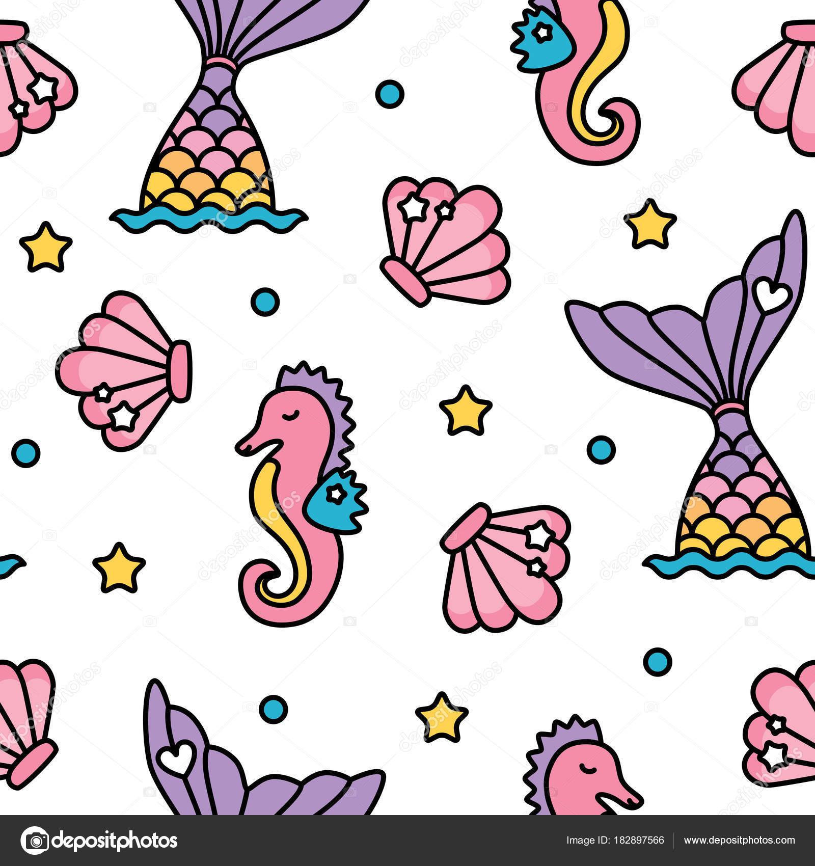 Sirena y Caballito de mar arco iris pastel color transparente patrón ...