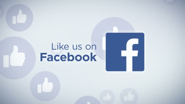 Like Us on Facebook Loop - Seamless looping animation of Like Us On Facebook with floating thumb icons in the background.