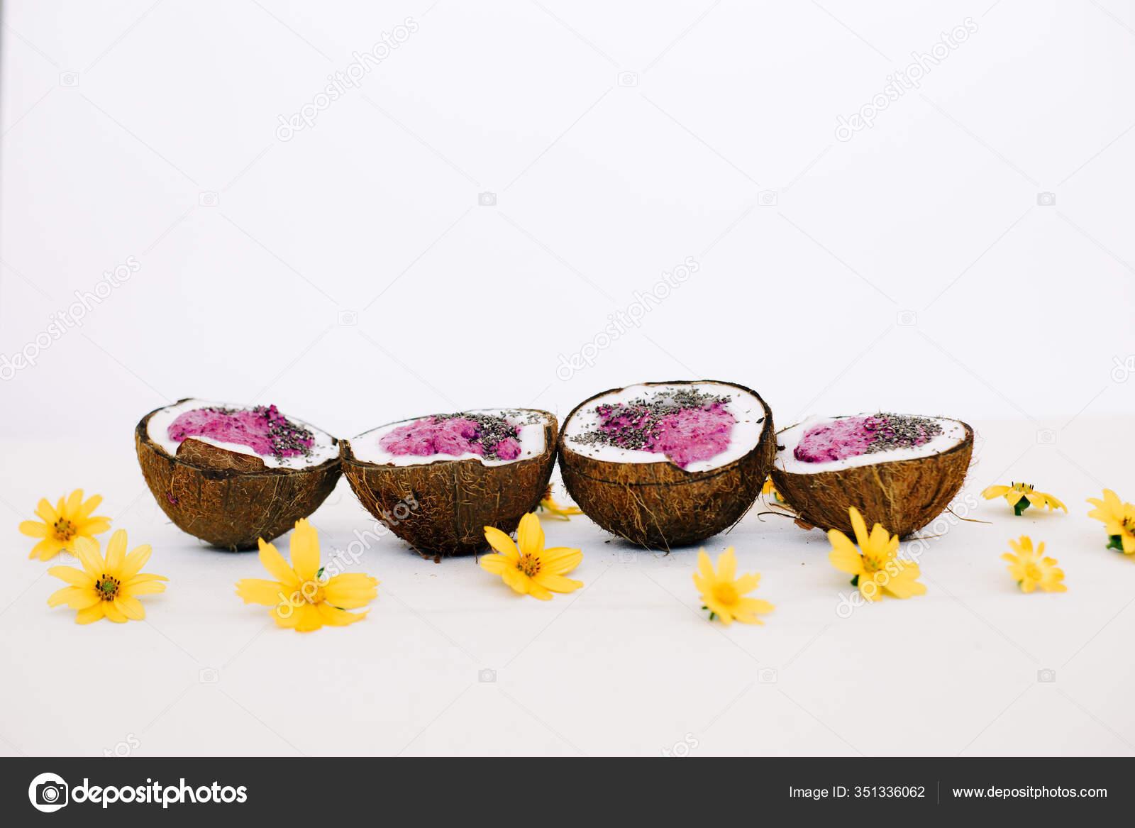 Four Plates Natural Coconut Shell Healthy Breakfast Green Buckwheat Smoothie Stock Photo C Darifomina 351336062