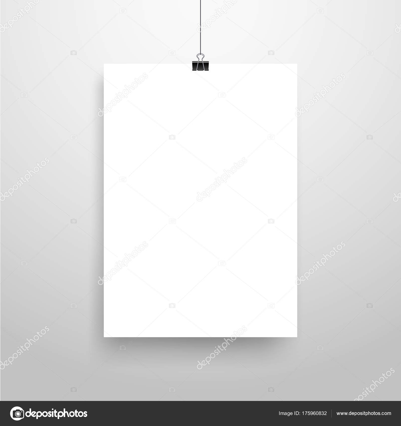 mock realistic white poster hanging empty white vector poster