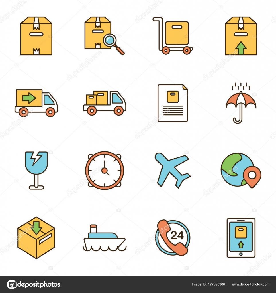 Einfache Symbole Zusammenhang Mit Versand Und Logistik Express ...