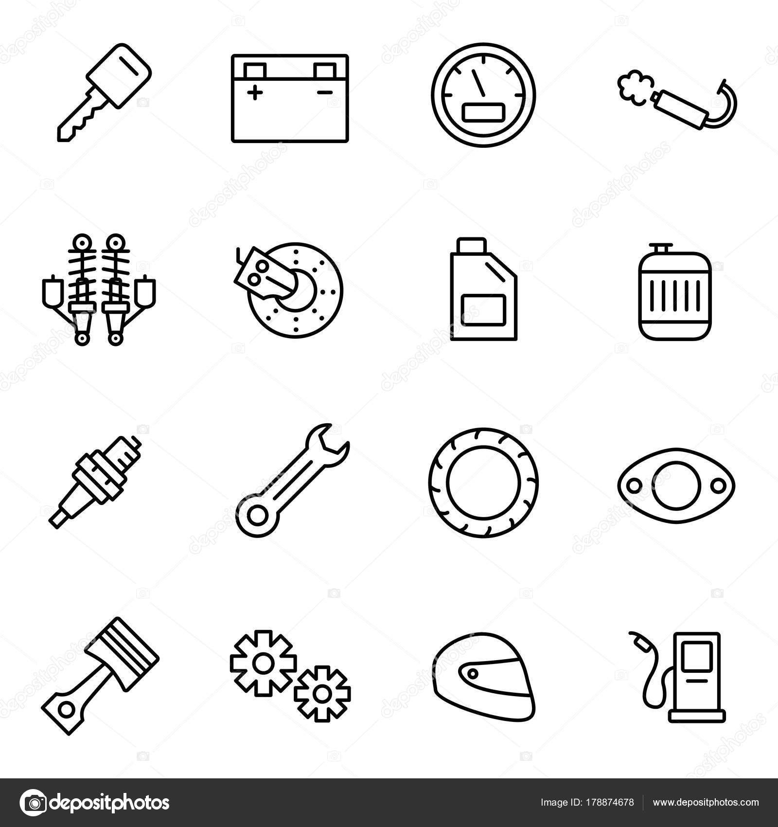 Motorcycle Parts Vector Icons Details Attributes Riding Motorcycle