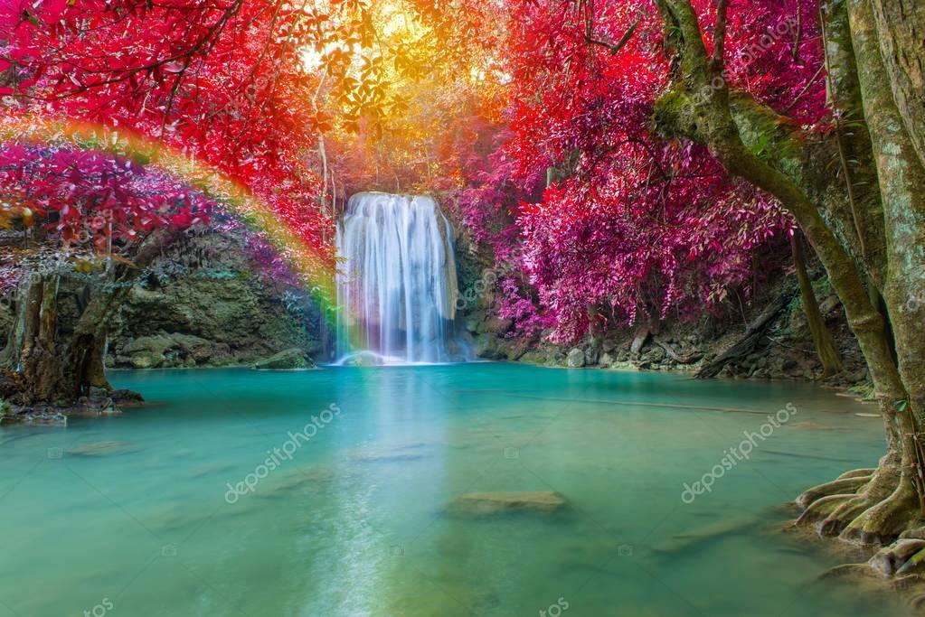 Фотообои Waterfall in Deep forest at Erawan waterfall National Park,