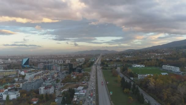 Aerial view of of traffic congestion at a Motorway Junction in Sofia, Bulgaria