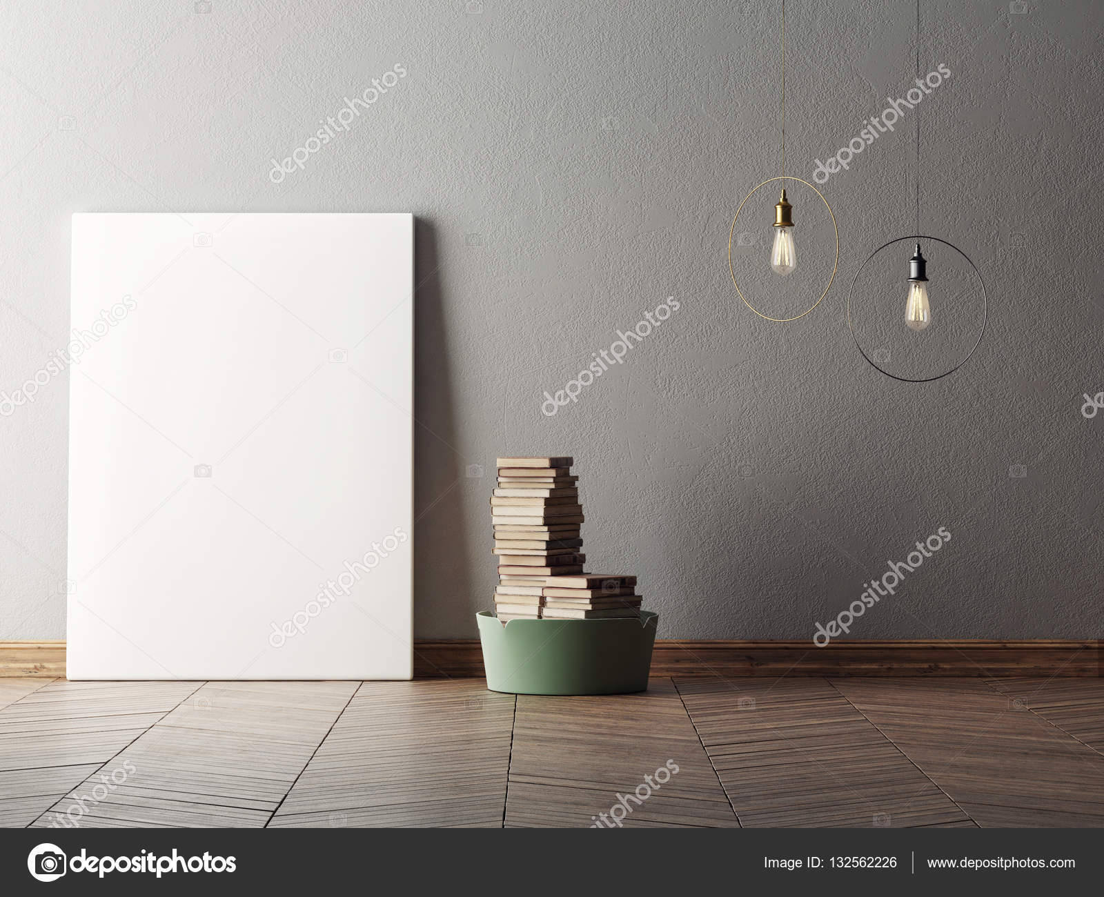 Mock up plakat im minimalismus interior design 3d illustraton