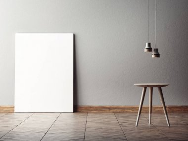 Mock up poster in minimalism interior design, 3d illustraton