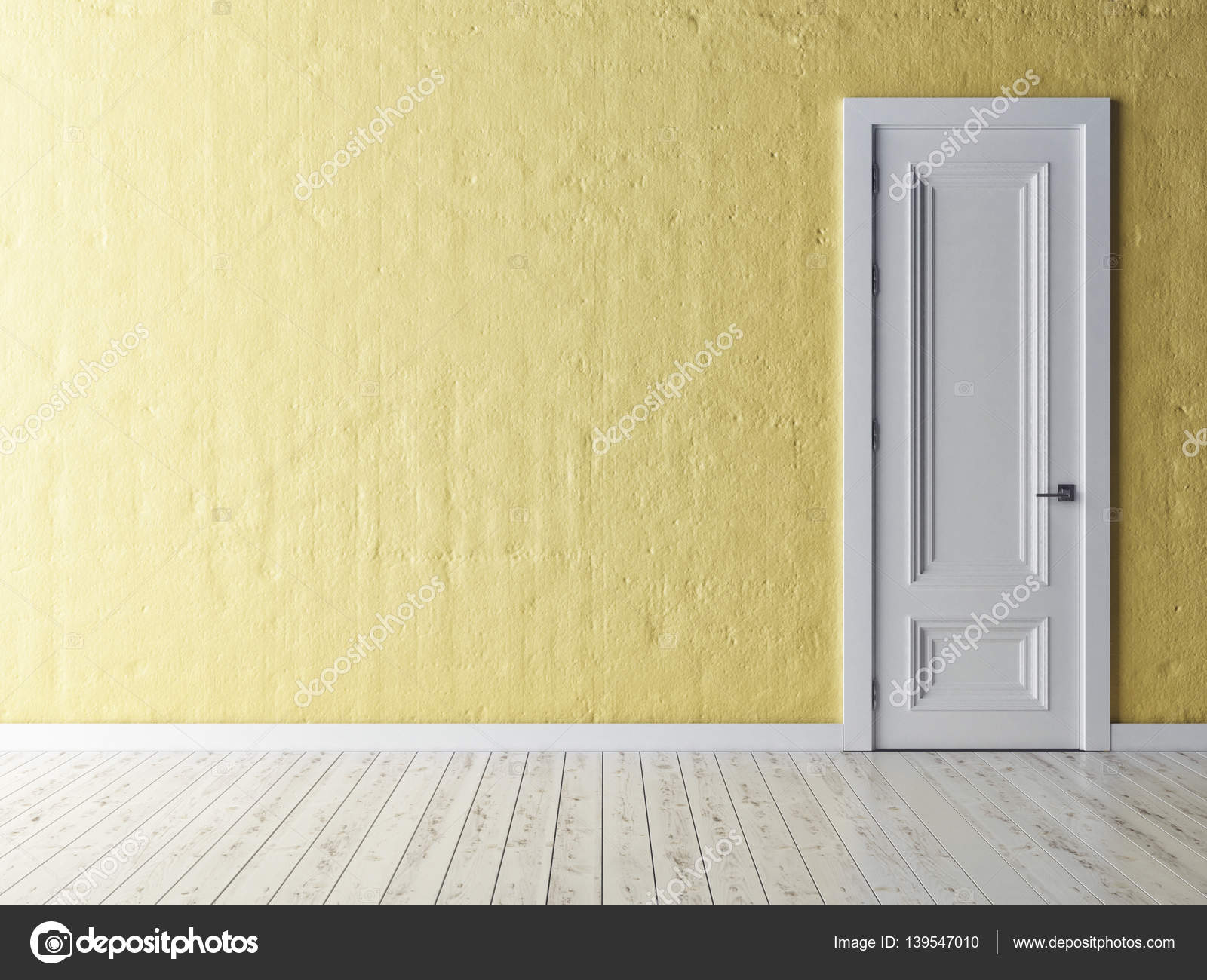White door on yellow rustic wall, 3d illustration — Stock Photo ...
