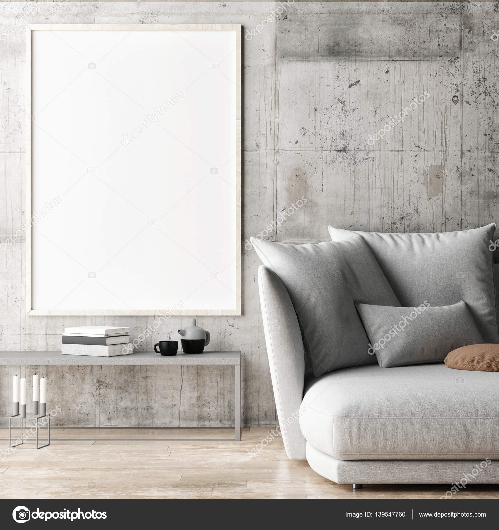 Gerahmte Poster in Hipster Wohnzimmer, 3d illustration — Stockfoto ...