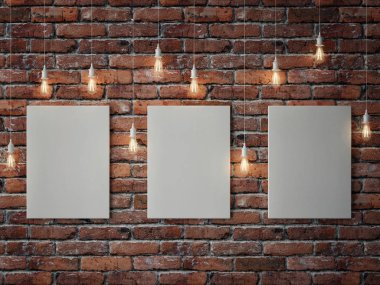 White posters with light bulbs on red brick wall, 3d illustration