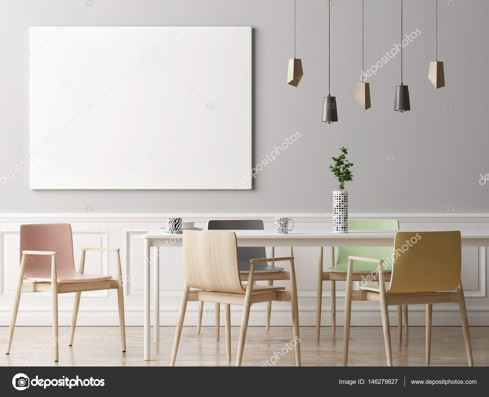 Room Background: Mock Up Poster In Dining Room, Hipster Background